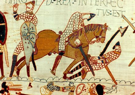 Bayeux Tapestry: Battle of Hastings, 14 October 1066. The Death of Harold II.  (003657)